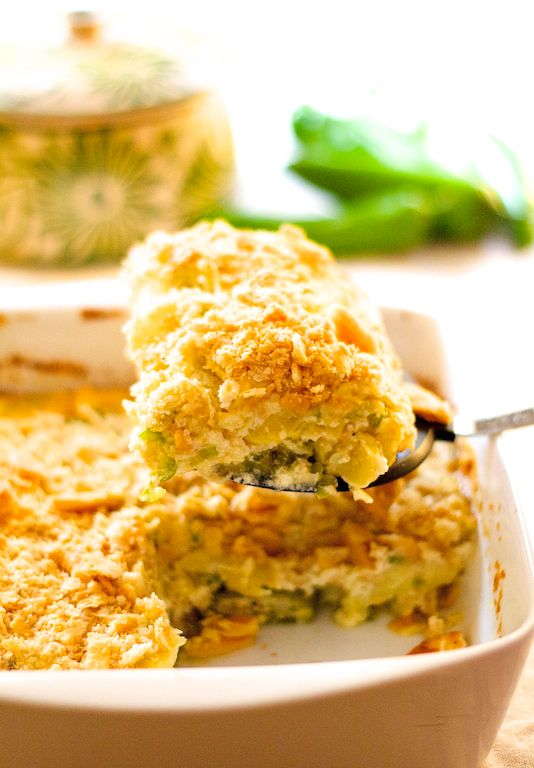Southern-inspired summer squash casserole gets a spicy, Southwestern makeover. Find this and other simply great recipes at From A Chef's Kitchen.