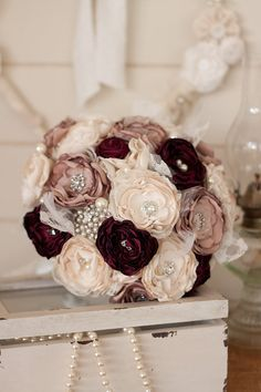 Vintage Inspired Cream, Dusty Pink and Burgundy Satin and Lace Bridal Bouquet