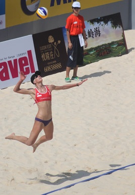 Brittany Hochevar serves at an FIVB Beach Volleyball Swatch World Tour event in April in Sanya, China.