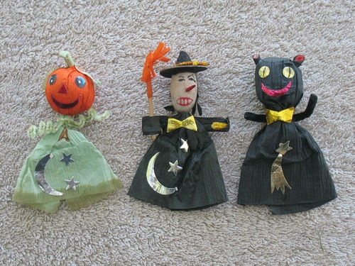 vintage halloween spun cotton witch crepe paper black cat and jol decoration ebay - Vintage Halloween Decorations Ebay