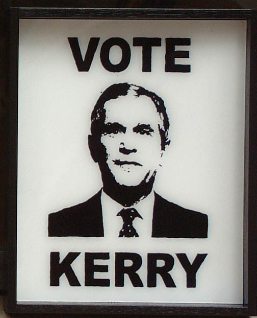 "Dario Arcidiacono ""Vote Kerry"" 2004  acrilico su plexiglass  cm. 30 x 25"