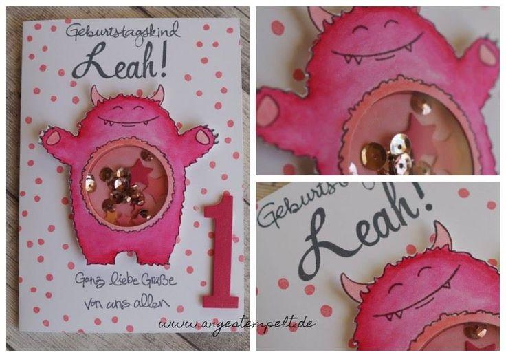 """Karte zum ersten Geburtstag - Pinkes Monster """"Yummy in my tummy"""" von Stampin'Up! www.angestempelt.de"""