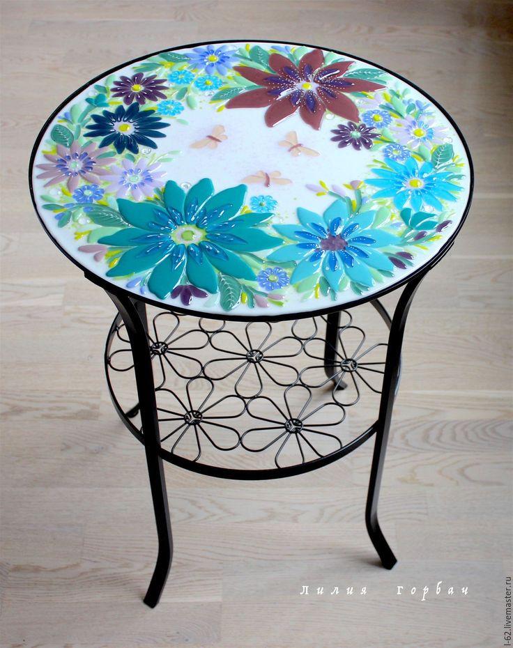 Купить стол из стекла, фьюзинг Прованс -2 - бирюзовый, стекло, Фьюзинг, стол, столик для завтрака