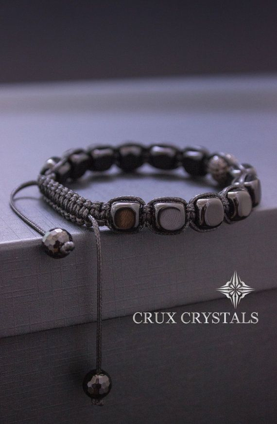 Onyx Cube Men's Shamballa Beaded Bracelet Natural by CruxCrystals