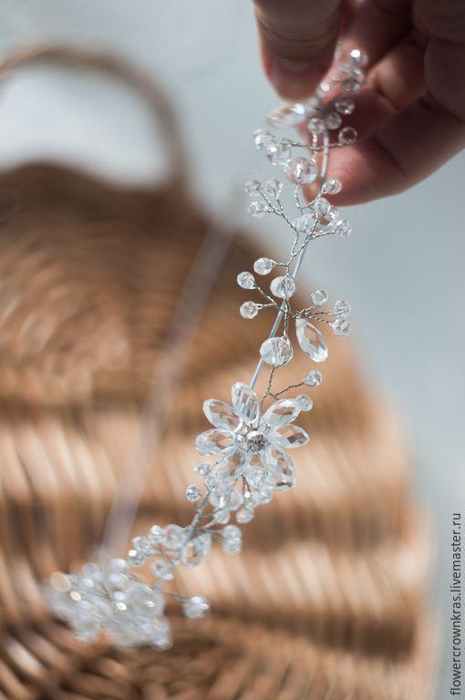 Купить Тиара кристальная для невесты (свадьба в стиле бохо) - белый, прозрачный, блеск, стекло