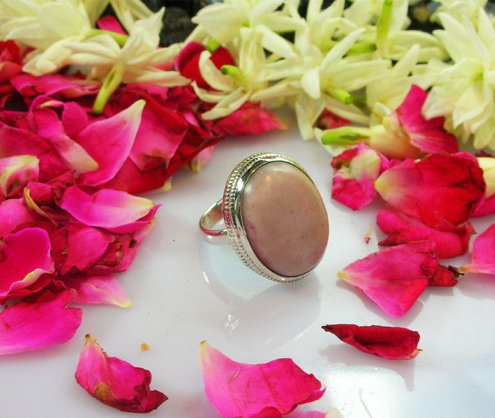 Vintage Rings – Natural Pink Opal -925 sterling silver ring – a unique product by IndianCraftPalace on DaWanda