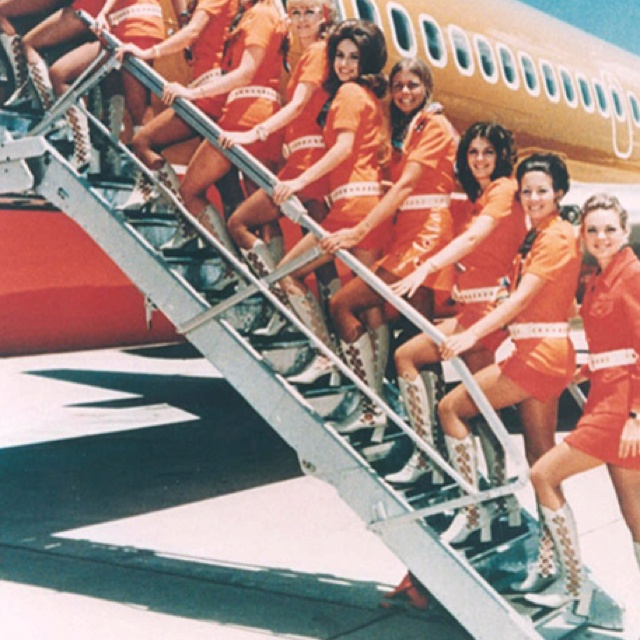 """""""Pacific Southwest Airlines"""" flight attendant uniforms (1960's). Yes! Boots, yes!: Retro Photos, 1970, Knee High Boots, Hot Pants, Vintage Airline, Southwest Airline, Girls Style, Flight Attendance, Air Travel"""