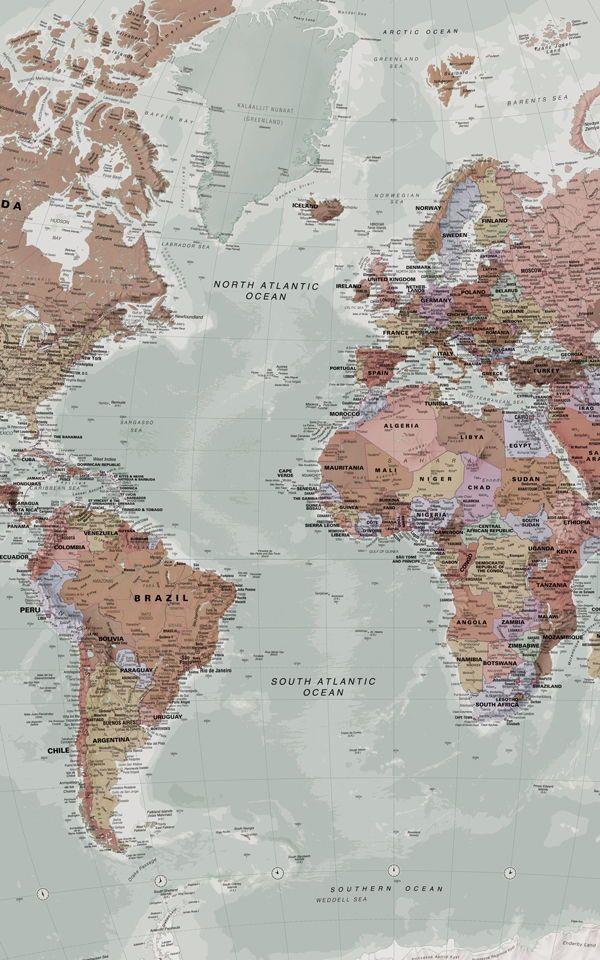 Klassische Weltkarte bemalte Tapete