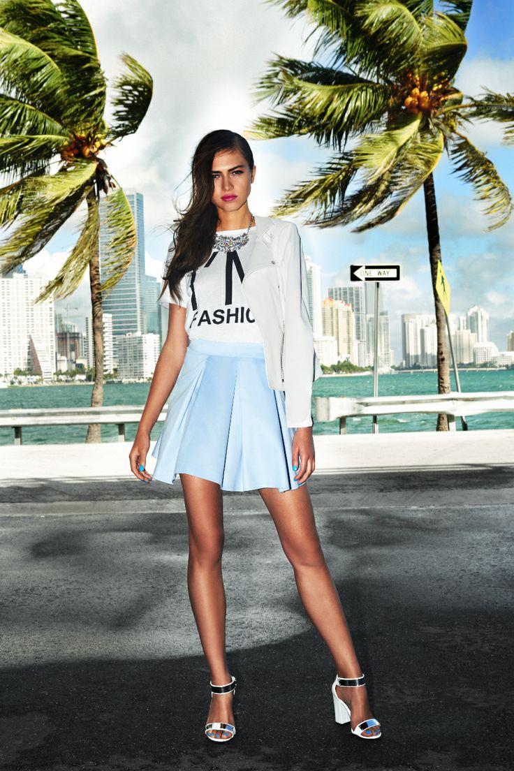 #blue #skirt #sandals #miami