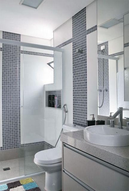 25+ melhores ideias sobre Banheiro Azul Cinza no Pinterest  Tinta cinza azul -> Decorar Banheiro Azul