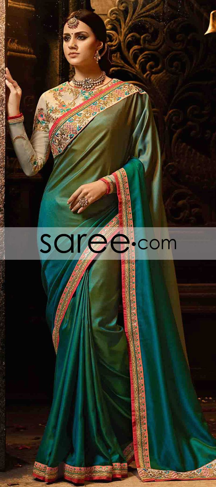 Blue and Green Ombre Silk Saree with Zari
