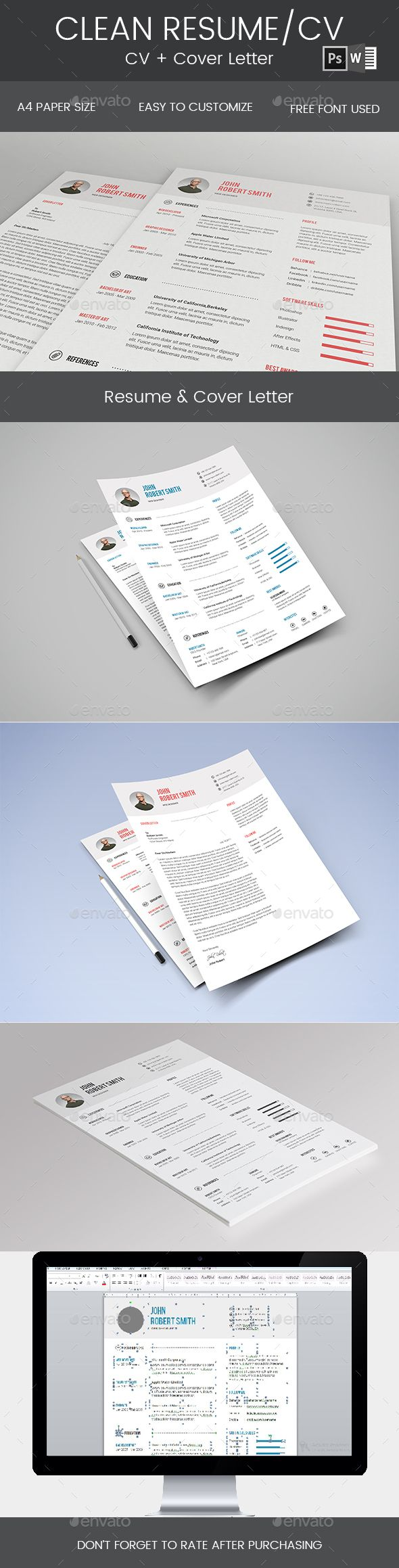 Clean Resume & Cover Letter Template PSD, DOCX & DOC