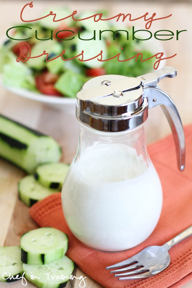 Creamy Cucumber Dressing!  This is so easy to make and is a fun, fresh and delicious way to dress up a salad!
