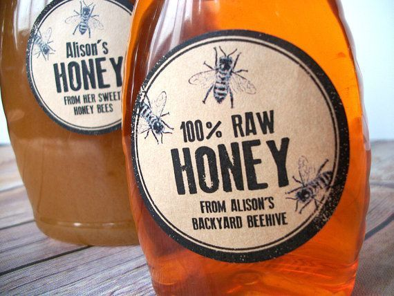 Rustic honey bottle labels printed with YOUR name, contact info, and type of honey. Great gift for backyard beekeepers. CanningCrafts, $6