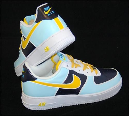 REMIXDAKICKZ Lt Blue and Yellow Color Block Custom Air Force One Sneakers