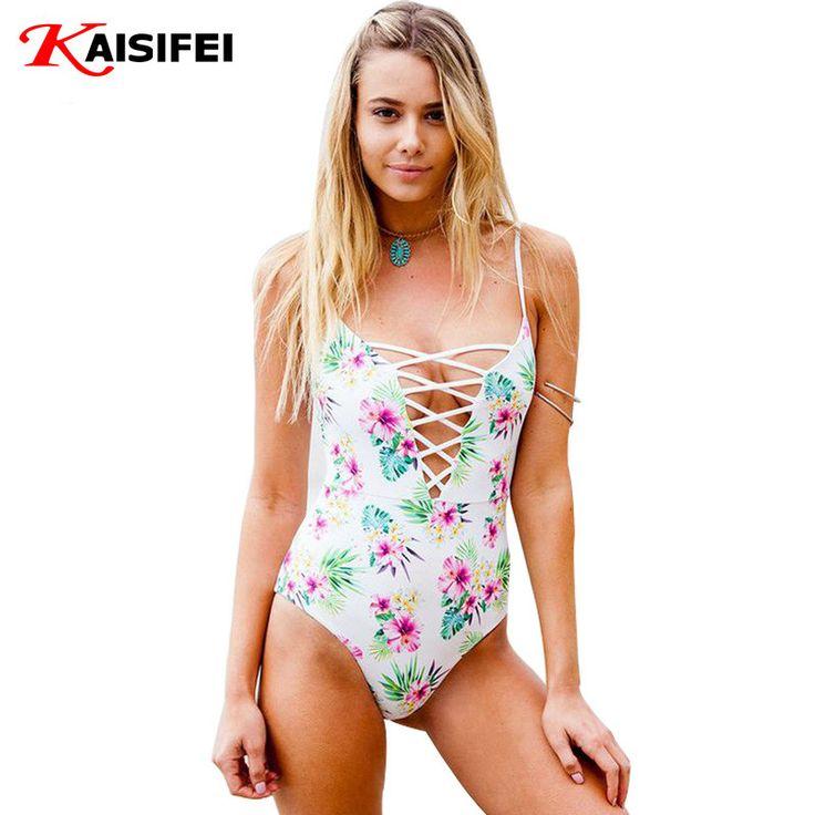 One Piece Swimsuit 2016 Sexy Swimwear Women Bodysuit Bathing Suit Swim Vintage Summer Beach Wear Print Bandage Monokini Swimsuit