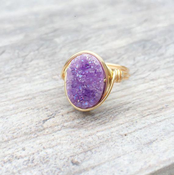 Anillo Druzy púrpura, anillo Druzy, púrpura Druzy alambre envuelto anillo