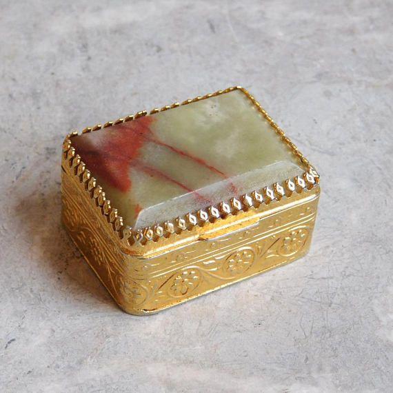 Gold Box Vintage Pill Box Metal Trinket Box Vintage Gold Tone Metal Trinket Box With Floral Enamel Design Jewelry Box Vintage Box