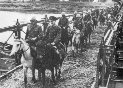 Operation Munich. Romanian cavalry crossing the Prut River to reoccupy Moldavia.1941