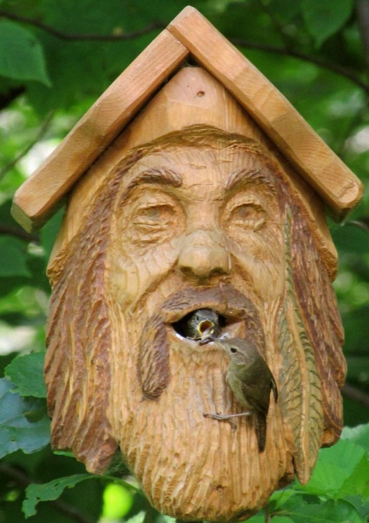 Awesome carved birdhouse faces pinterest