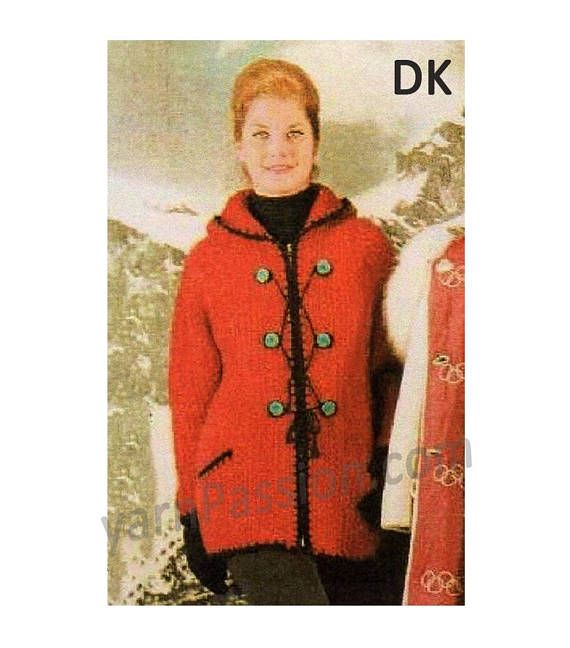 DK Knitted Parade Jacket with Hood to fit sizes: 81 87cm 34-36 knitting pattern can be found at Etsy shop called YarnPassionDesigns