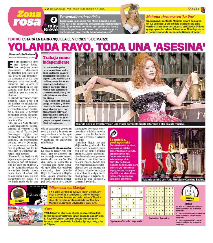 Yolanda Rayo, toda una 'asesina'. Textos: Hernando Ballesteros. Empresa: Q'hubo Barranquilla.
