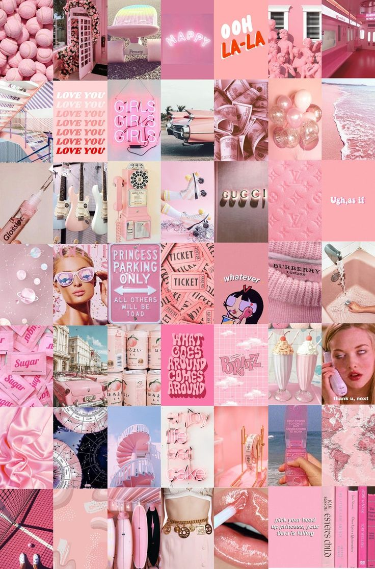 Peach Pink Wall Collage Kit Pink Aesthetic Photos VSCO ...