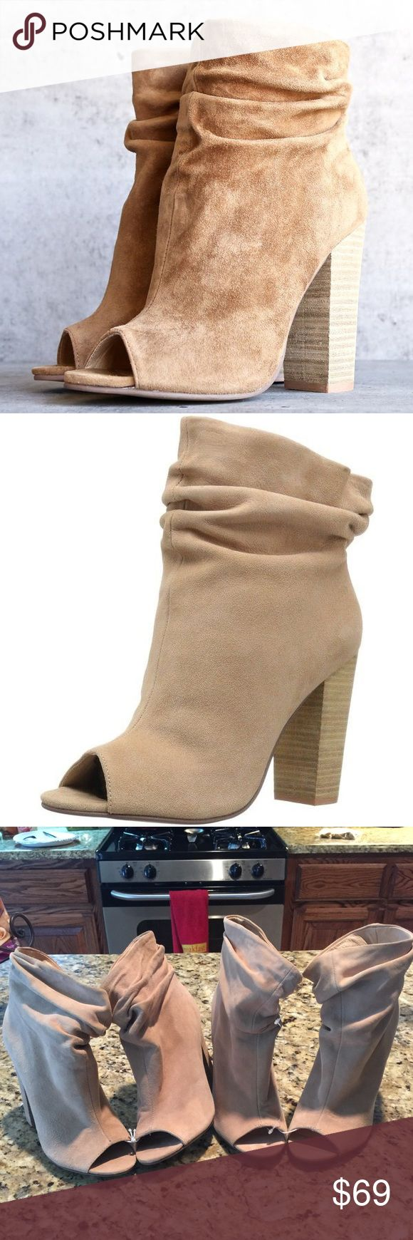 Chinese Laundry Kristin Cavallari Laurel Bootie Chinese Laundry Kristin Cavallari - Laurel Open Toe Slouchy Bootie - Kid Suede Dark Camel Wake up your wardrobe with these high-style Break Up booties with slouchy ankle detail and a flirty peep-toe. Rich suede upper with open toe and ruched collar. Man-made lining. Lightly cushioned man-made footbed. Stacked heel. Man-made sole. Imported. Measurements: * Heel Height: 3 3⁄4 in * Weight: 11 oz * Circumference: 11 3⁄4 in * Shaft: 6 3⁄4 in…