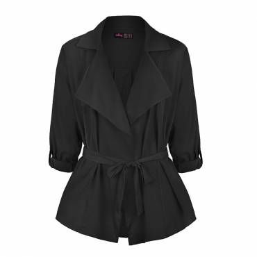 TAB SLEEVE WRAP FRONT DRAPE COLLAR JACKET