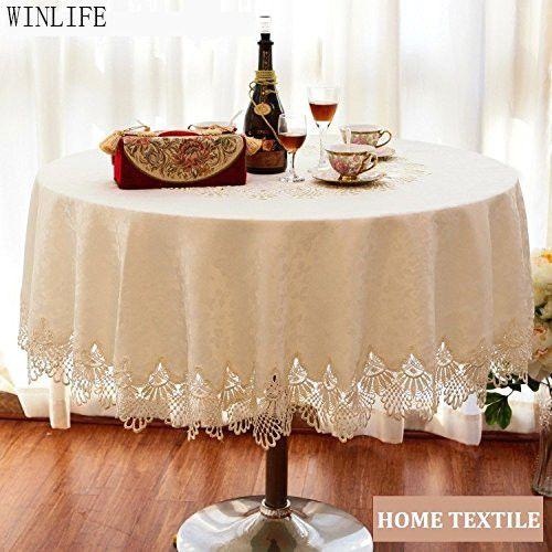 WINLIFE Brand Lace Table Cloth Set European Round Table Cloth Round Lace Tablecloth