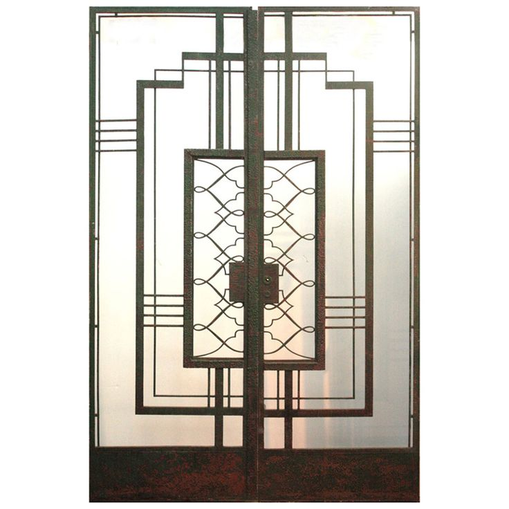 a pair of green painted Art Deco iron doors rectangular design except for center  sc 1 st  Pinterest & 151 best Doors images on Pinterest | French doors Antique doors and ...
