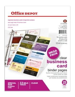 Office Depot Brand Business Card Binder Pages 8 12 x 11  Clear Pack Of 25 by Office Depot & OfficeMax