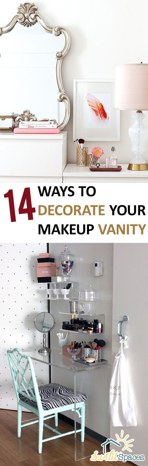 Makeup Vanity How to Decorate Your Makeup Vanity Home Decor Ideas DIY Makeup Vanity Makeup Vanity Ideas Makeup Tips and Tricks Decorating Bathroom Decor Popular Pin #makeupideas #homedecortips