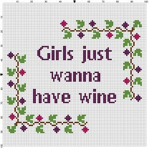 Girls Just Wanna Have Wine - Cross Stitch Pattern - Instant Download