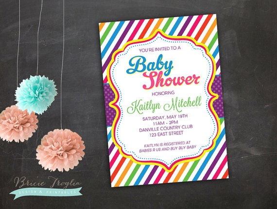 New Baby Shower Invitation Bright Colorful by LittleOwlBows on Etsy
