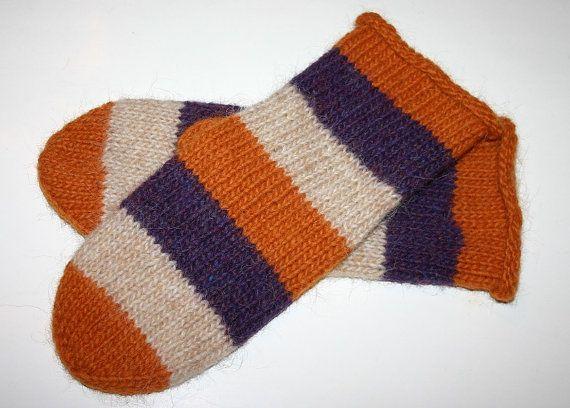 Unisex Icelandic Wool Mittens in Beige Plum & Golden by Maggadora, $37.00