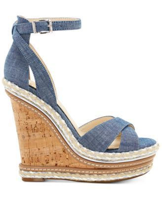 bee95aff07 Jessica Simpson Ahnika Ankle-Strap Wedge Sandals - Tan/Beige 10M ...