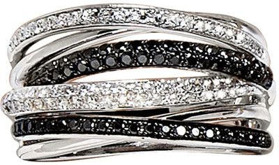 i'm in love with stacking glittery pretty bracelets this season!  Effy Collection Black And White Diamond Ring In14 Kt. White Gold  lordandtaylor.com