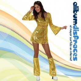 Disfraz de Chica Disco Dorado  - €14.40
