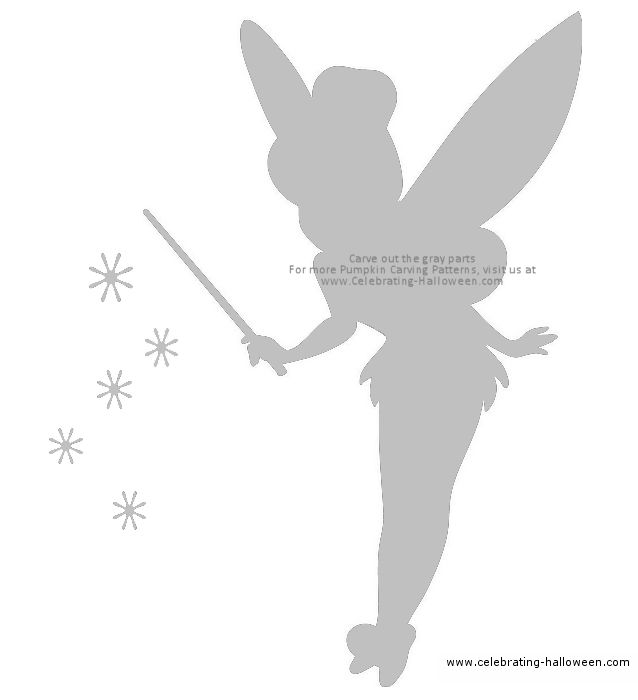 tinkerbell pumpkin carving patterns | Tinkerbell Fairy Stencil – Free Pumpkin Carving Stencil/Pattern