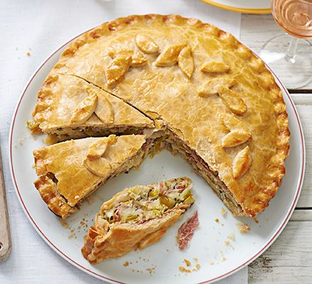 Make your own shortcrust pastry then fill with sweet leeks, Lancashire cheese, cooked ham and a chive and crème fraîche sauce