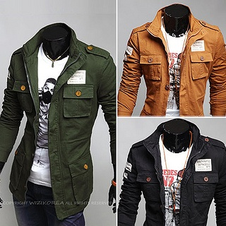 Slim Fitting Military Jacket with Contrast Buttons