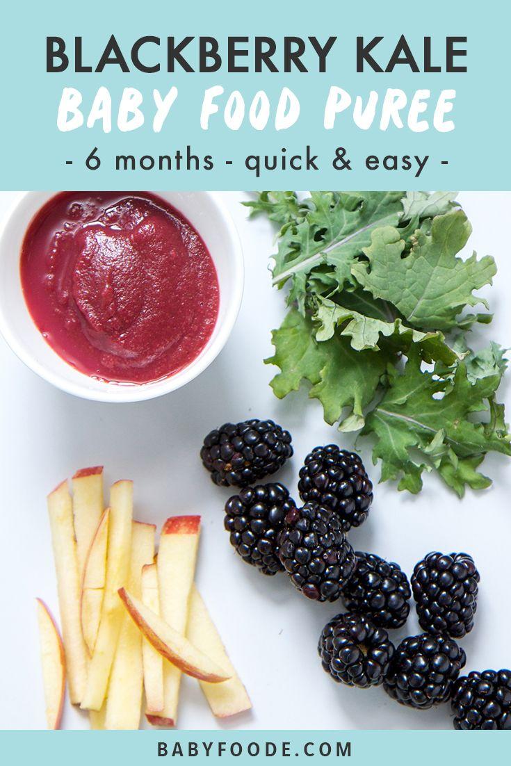 Blackberry + Kale + Apple Babynahrungspüree  – Pureed food recipes