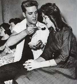 Young Priscilla Presley with Elvis Presley