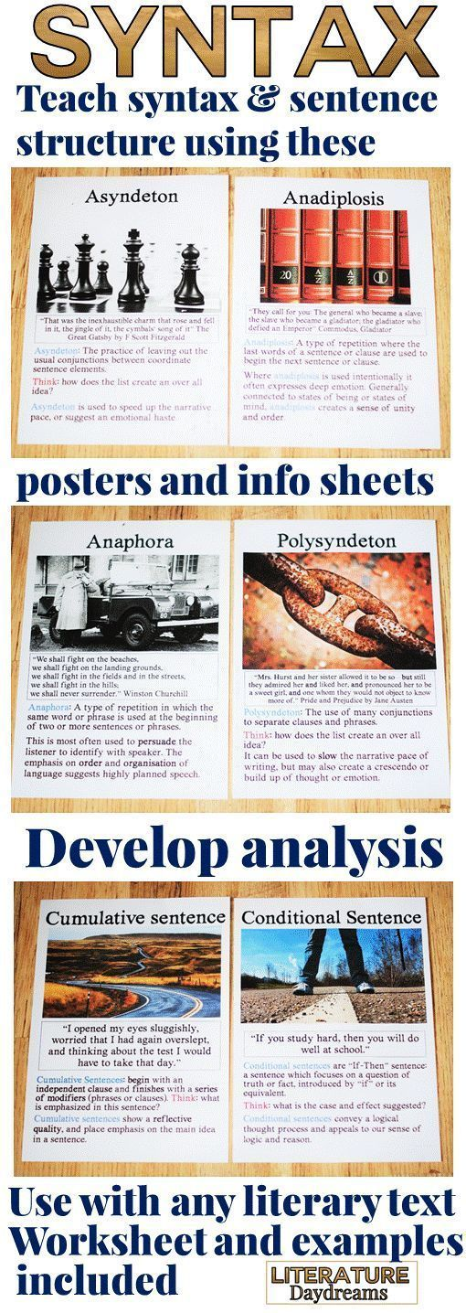 These posters and information sheets will help you and your students develop detailed analysis of syntax and sentence structure in any literary text. From cumulative sentences to anaphora – have your students write their own examples and then study the effect of syntax in literature. 12 posters and information sheets included with 2 worksheets and an extract from Dickens to get analyzing!
