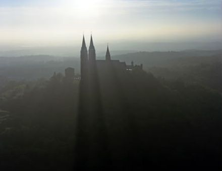 Holy Hill..The view from my Uncles house up to the Church on the Hill. A foggy Wisconsin Sunrise.