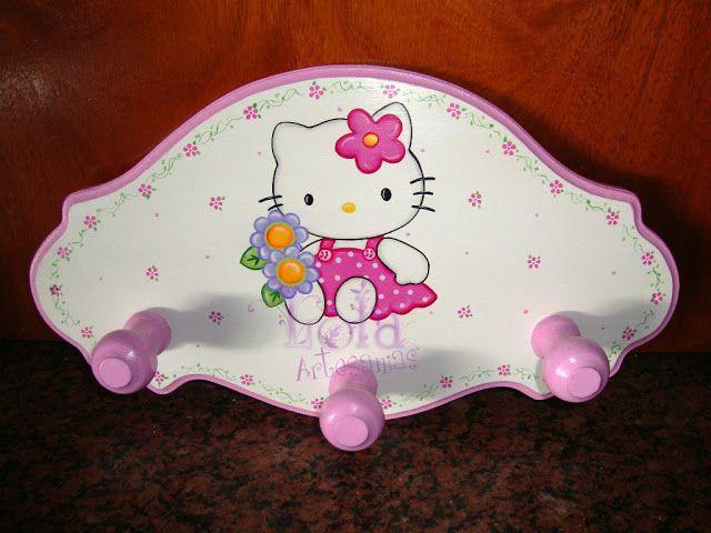 Lola artesan as perchero de kitty cuadros infantiles - Percheros infantiles de pared ...