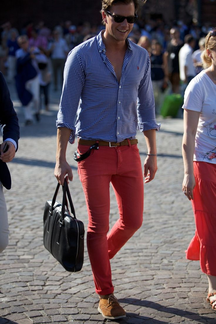 Definitely the look I go for! Casual button up with colored pants and cuffed at the bottom. Comfortable and classy!