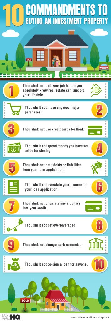 10 Commandments To Buying An Investment Property Infographic  ~ Great pin! For Oahu architectural design visit http://ownerbuiltdesign.com