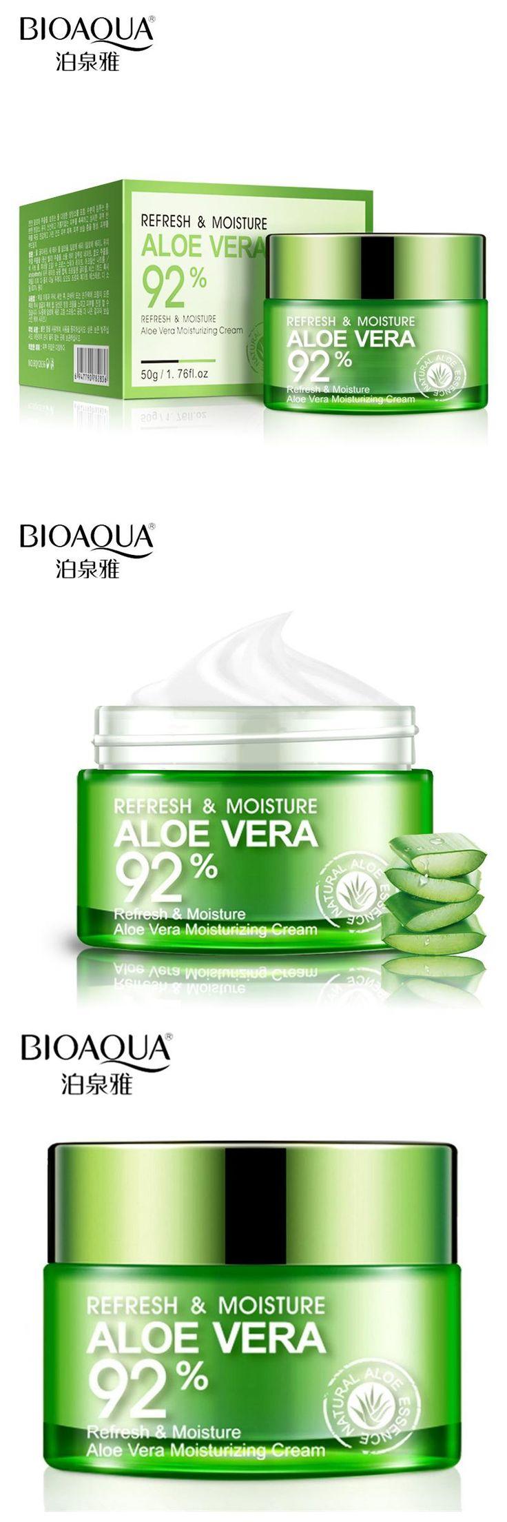 [Visit to Buy] BIOAQUA Brand Skin Care Serum Aloe Vera Gel Deep Hydrating Moisturizing Whitening Face Cream Anti-Aging Day Cream Face Mask 50g #Advertisement